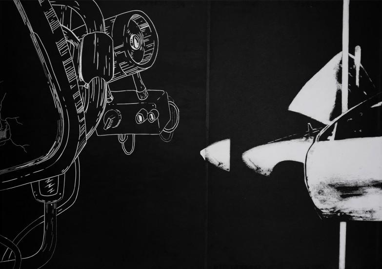 Postvisions (9) | intaglio, woodcut | 100x70 cm